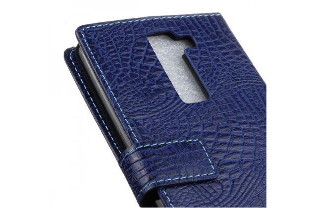 """Чехол-книжка с подставкой для lg k10 / m2 (k410 / k420n / k430n / k430 dual sim lte) 5.3"""" лаковая кожа крокодила фиолетовый"""