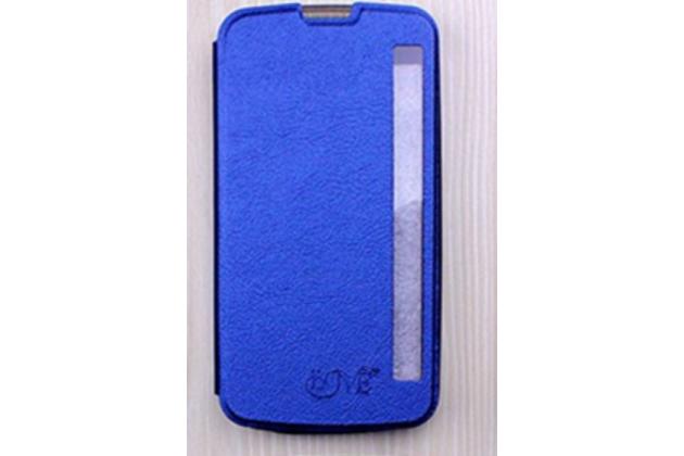 "Чехол-книжка для lg k10 / m2 (k410 / k420n / k430n / k430 dual sim lte) 5.3""  голубой с окошком для входящих вызовов водоотталкивающий"