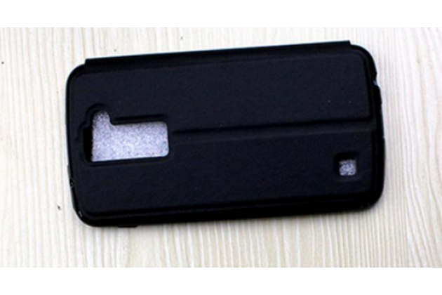 "Чехол-книжка для lg k10 / m2 (k410 / k420n / k430n / k430 dual sim lte) 5.3""  черный с окошком по центру для сторонней версии прошивки водоотталкивающий"