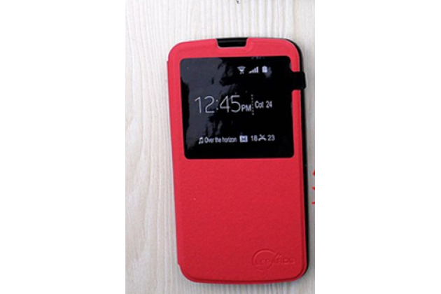 "Чехол-книжка для lg k10 / m2 (k410 / k420n / k430n / k430 dual sim lte) 5.3""  красный с окошком по центру для сторонней версии прошивки водоотталкивающий"