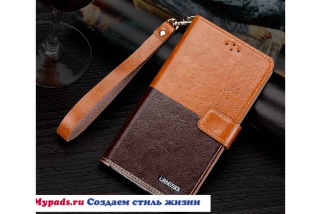 "Чехол-книжка с визитницей и мультиподставкой для  lg k10 / m2 (k410 / k420n / k430n / k430 dual sim lte) 5.3""  черно-коричневый кожаный"