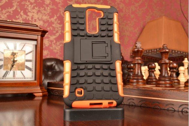 """Противоударный усиленный ударопрочный чехол-бампер-пенал для  lg k10/ к10 lte k410 / m2 5.5"""" оранжевый"""
