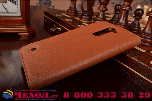 """Чехол-книжка из качественной импортной кожи с подставкой застёжкой и визитницей для элджи ка10 / lg k10/ к10 lte k410 / m2 5.5""""  коричневый"""
