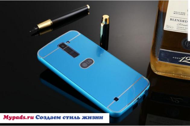 """Металлическая задняя панель-крышка-накладка из тончайшего облегченного авиационного алюминия для lg k10 / m2 (k410 / k420n / k430n / k430 dual sim lte) 5.3"""" синяя"""