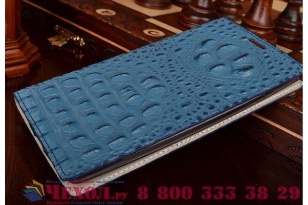 """Роскошный эксклюзивный чехол с объёмным 3d изображением рельефа кожи крокодила синий для lg k10/ к10 lte k410 / m2 5.3"""" . только в нашем магазине. количество ограничено"""