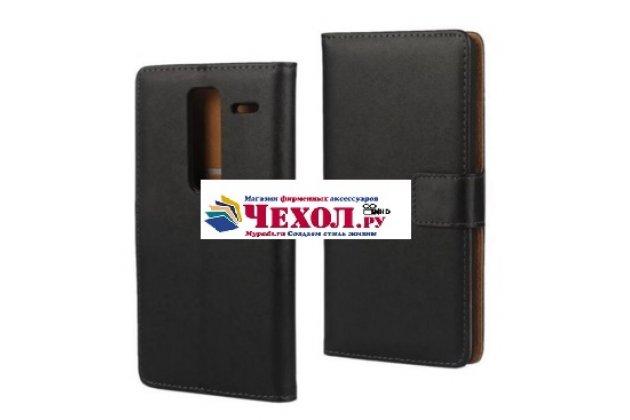 Чехол-книжка из качественной импортной кожи с мульти-подставкой застёжкой и визитницей для лджи к4 к120е/к 130 е черный