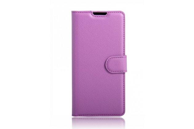 """Чехол-книжка для lg k4 k120e / k130e / zone 3 (vs425) 4.5"""" с визитницей и мультиподставкой фиолетовый кожаный"""
