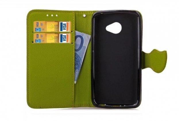"""Чехол-книжка для lg k5 / q6 (x220ds) 5.0"""" с визитницей мультиподставкой и декорированной застежкой зелёный кожаный"""