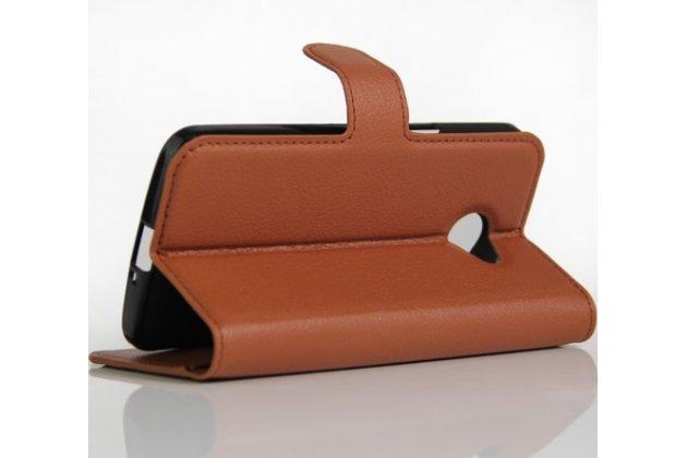 """Чехол-книжка для lg k5 / q6 (x220ds) 5.0"""" с визитницей и мультиподставкой коричневый кожаный"""