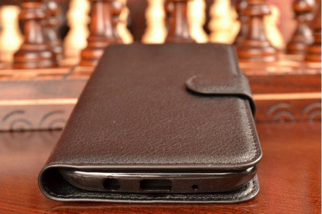 """Чехол-книжка из качественной импортной кожи с подставкой застёжкой и визитницей для лджи трибут 5 / lg tribute 5 / lg k7/ m1 5.0"""" черный"""