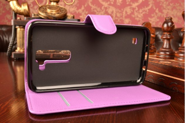 """Чехол-книжка из качественной импортной кожи с подставкой застёжкой и визитницей для лджи трибут 5 / lg tribute 5 / lg k7/ m1 5.0"""" фиолетовый"""