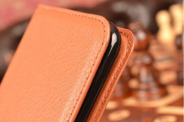 """Чехол-книжка из качественной импортной кожи с подставкой застёжкой и визитницей для лджи трибут 5 / lg tribute 5 / lg k7/ m1 5.0""""  коричневый"""