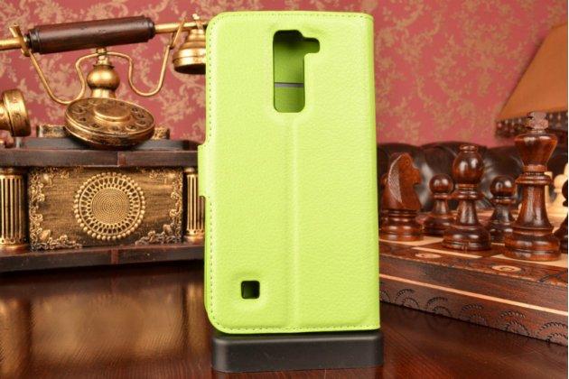 """Чехол-книжка из качественной импортной кожи с подставкой застёжкой и визитницей для лджи трибут 5 / lg tribute 5 / lg k7/ m1 5.0""""  зеленый"""