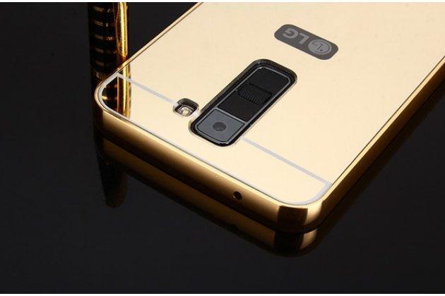 Металлическая задняя панель-крышка-накладка из тончайшего облегченного авиационного алюминия для lg tribute 5 / lg k7/ m1 (x210ds) dual sim 5.0 золотая