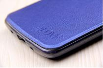 """Чехол-книжка для lg k8 k350n/ k350e 5.0"""" голубой с окошком для входящих вызовов водоотталкивающий"""