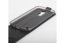 """Вертикальный откидной чехол-флип для lg k8 k350n/ k350e 5.0"""" черный из качественной импортной кожи """"prestige"""" италия"""
