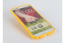 """Ультра-тонкая полимерная из глянцевого блестящего """"мармеладного"""" силикона задняя панель-чехол-накладка для lg k8 k350n/ k350e 5.0"""" желтая"""