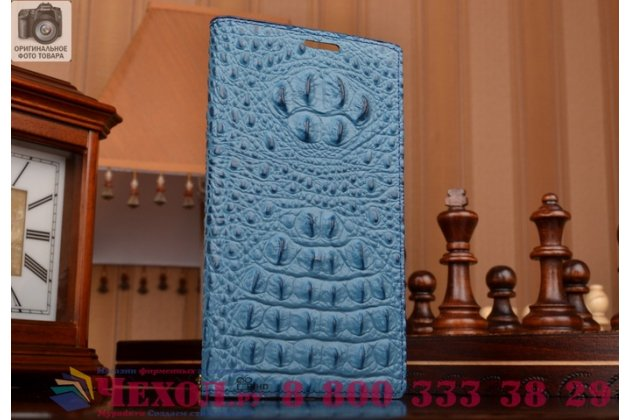 Роскошный эксклюзивный чехол с объёмным 3d изображением рельефа кожи крокодила синий для lg leon h324 /h340 . только в нашем магазине. количество ограничено