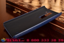Роскошная элитная премиальная задняя панель-крышка для lg leon из качественной кожи буйвола с визитницей синяя