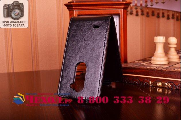 Вертикальный откидной чехол-флип для lg leon h324 черный кожаный
