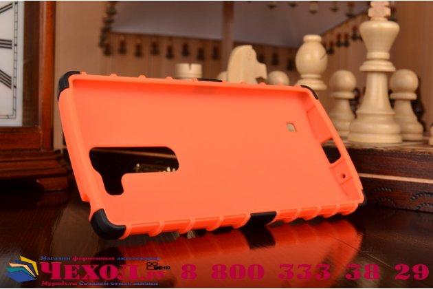 Противоударный усиленный ударопрочный чехол-бампер-пенал для lg magna h502 оранжевый