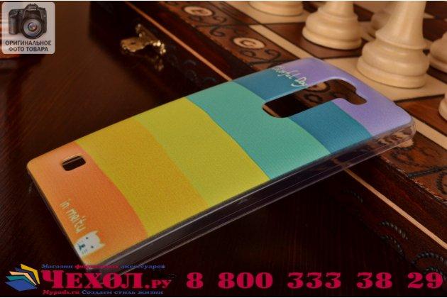 """Необычная из легчайшего и тончайшего пластика задняя панель-чехол-накладка для lg magna h502 """"тематика все цвета радуги"""""""