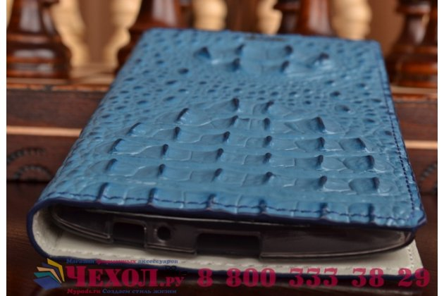 Роскошный эксклюзивный чехол с объёмным 3d изображением рельефа кожи крокодила синий для lg magna h502 / lg g4c h525n . только в нашем магазине. количество ограничено