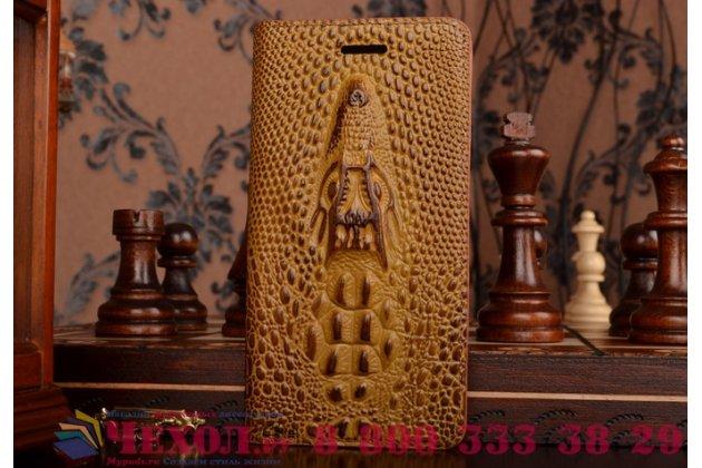 Роскошный эксклюзивный чехол с объёмным 3d изображением кожи крокодила коричневый для lg magna h502 / lg g4c h525n  . только в нашем магазине. количество ограничено