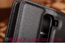 Чехол-книжка из качественной импортной кожи с мульти-подставкой застёжкой и визитницей для лджи магна н502 / лджи джи 4 с черный
