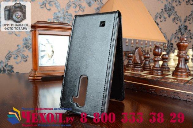 Вертикальный откидной чехол-флип для lg magna h502 черный кожаный