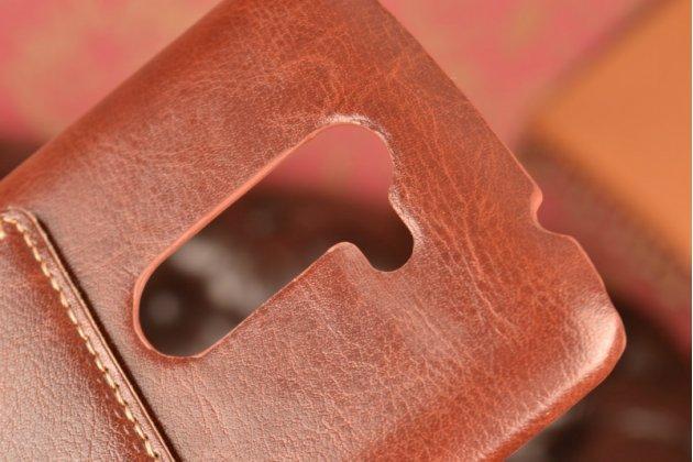 """Роскошная элитная премиальная задняя панель-крышка для  lg ray / lg zone x190 5.5""""   из качественной кожи буйвола с визитницей коричневая"""