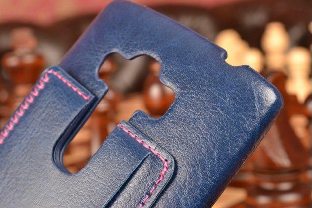 """Роскошная элитная премиальная задняя панель-крышка для lg ray / lg zone x190 5.5""""  из качественной кожи буйвола с визитницей синяя"""