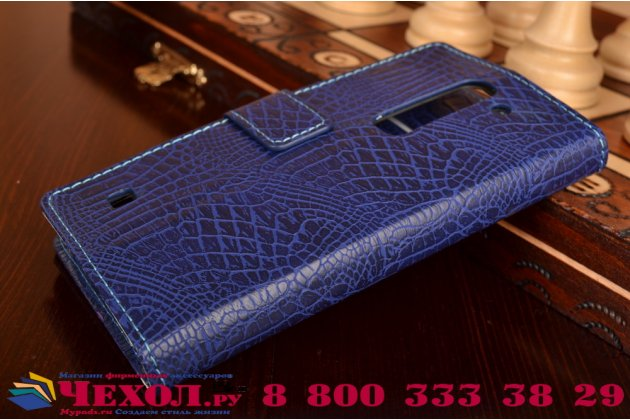 """Чехол-книжка с подставкой для lg spirit h422/ h440y"""" лаковая кожа крокодила фиолетовый"""