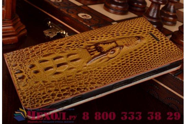 Роскошный эксклюзивный чехол с объёмным 3d изображением кожи крокодила коричневый для lg spirit h422 / h420 / h440y. только в нашем магазине. количество ограничено