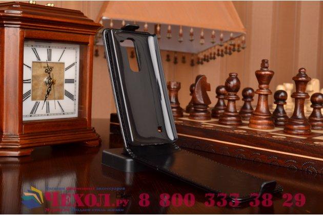 Вертикальный откидной чехол-флип для lg spirit h422/ h440y черный кожаный