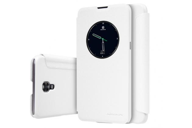 """Чехол-книжка для lg x view lgk500ds / x screen k500y 4.93"""" с функцией умного окна (фонарик, плеер, аналоговые часы) белый"""