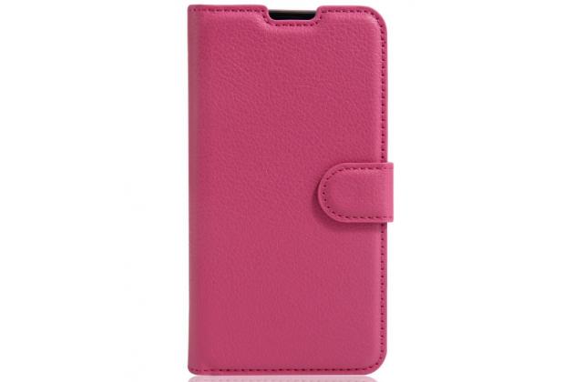 """Чехол-книжка из качественной импортной кожи с мульти-подставкой застёжкой и визитницей для lg x view lgk500ds / x screen k500y 4.93"""" розовый"""