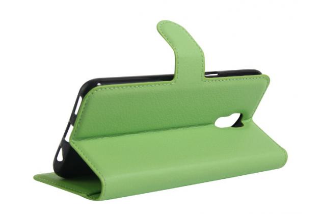 """Чехол-книжка из качественной импортной кожи с мульти-подставкой застёжкой и визитницей для lg x view lgk500ds / x screen k500y 4.93"""" зеленый"""