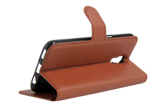 """Чехол-книжка из качественной импортной кожи с мульти-подставкой застёжкой и визитницей для lg x view lgk500ds / x screen k500y 4.93"""" коричневый"""
