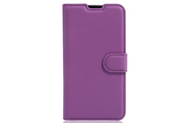 """Чехол-книжка из качественной импортной кожи с мульти-подставкой застёжкой и визитницей для lg x view lgk500ds / x screen k500y 4.93"""" фиолетовый"""