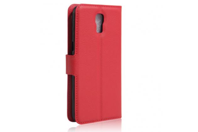 """Чехол-книжка из качественной импортной кожи с мульти-подставкой застёжкой и визитницей для lg x view lgk500ds / x screen k500y 4.93"""" красный"""