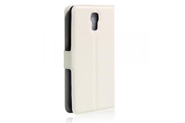 """Чехол-книжка из качественной импортной кожи с мульти-подставкой застёжкой и визитницей для lg x view lgk500ds / x screen k500y 4.93"""" белый"""