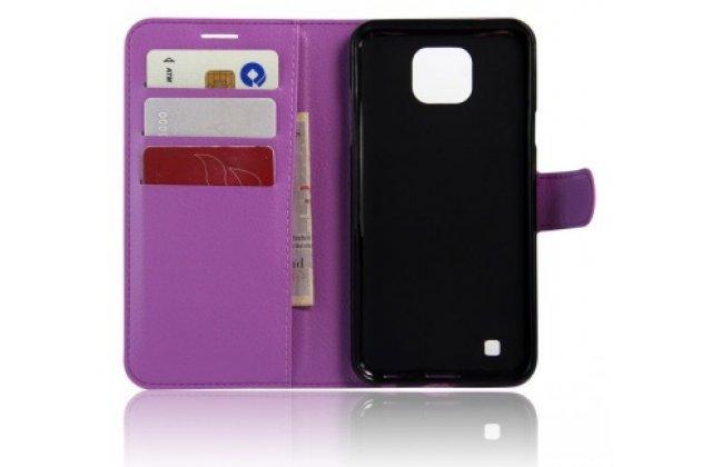 Чехол-книжка для lg x cam k580ds 5.2 с визитницей и мультиподставкой фиолетовый кожаный