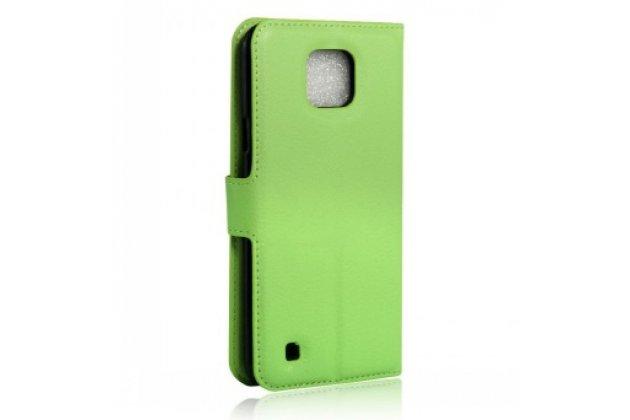 Чехол-книжка дляlg x cam k580ds 5.2 с визитницей и мультиподставкой зеленый кожаный