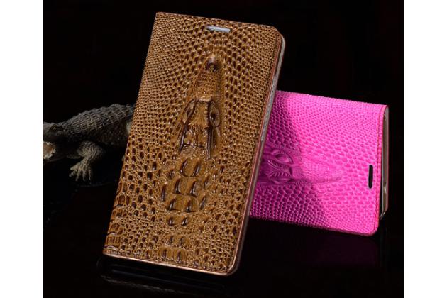 """Роскошный эксклюзивный чехол с объёмным 3d изображением кожи крокодила коричневый для lg x view lgk500ds / x screen k500y 4.93"""". только в нашем магазине. количество ограничено"""