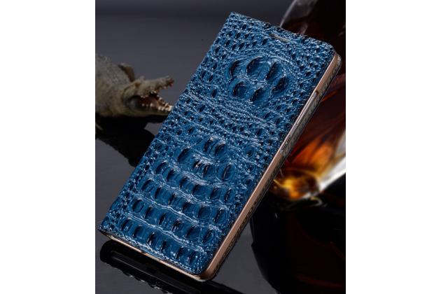 """Роскошный эксклюзивный чехол с объёмным 3d изображением рельефа кожи крокодила синий для lg x view lgk500ds / x screen k500y 4.93"""". только в нашем магазине. количество ограничено"""