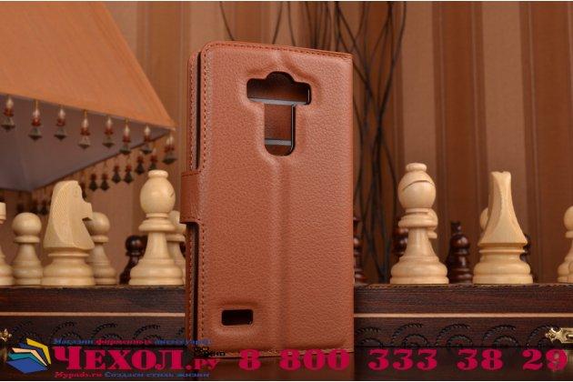 Чехол-книжка из качественной импортной кожи с мульти-подставкой застёжкой и визитницей для лджи джи4 бит / джи4с коричневый