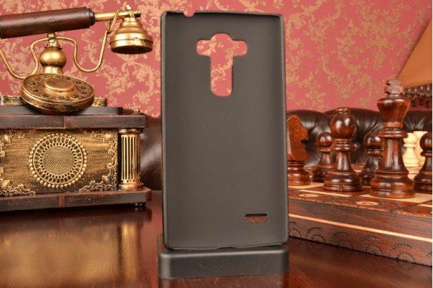 Чехол-накладка с визитницей для  lg g4 beat / g4s обтянутая кожей буйвола черная