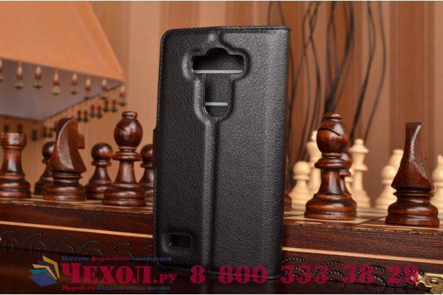 Чехол-книжка из качественной импортной кожи с мульти-подставкой застёжкой и визитницей для лджи джи4 бит / джи4с черный