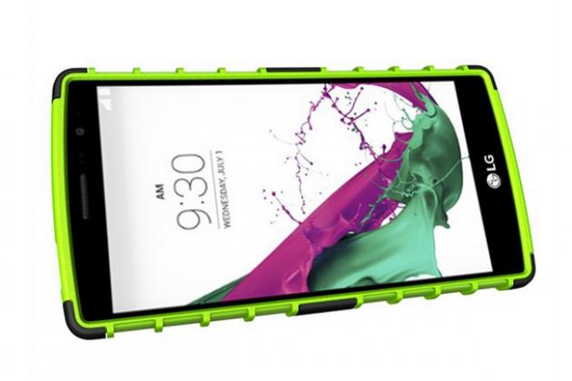 Противоударный усиленный ударопрочный чехол-бампер-пенал для lg g4 beat / g4s зелёный